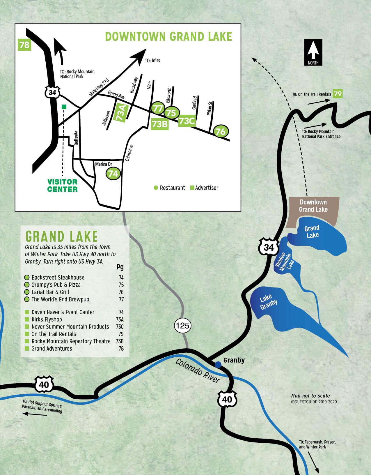 Grand Lake Map- Colorado