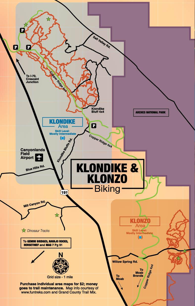 Klondike & Klonzo Biking Map - Moab, Utah