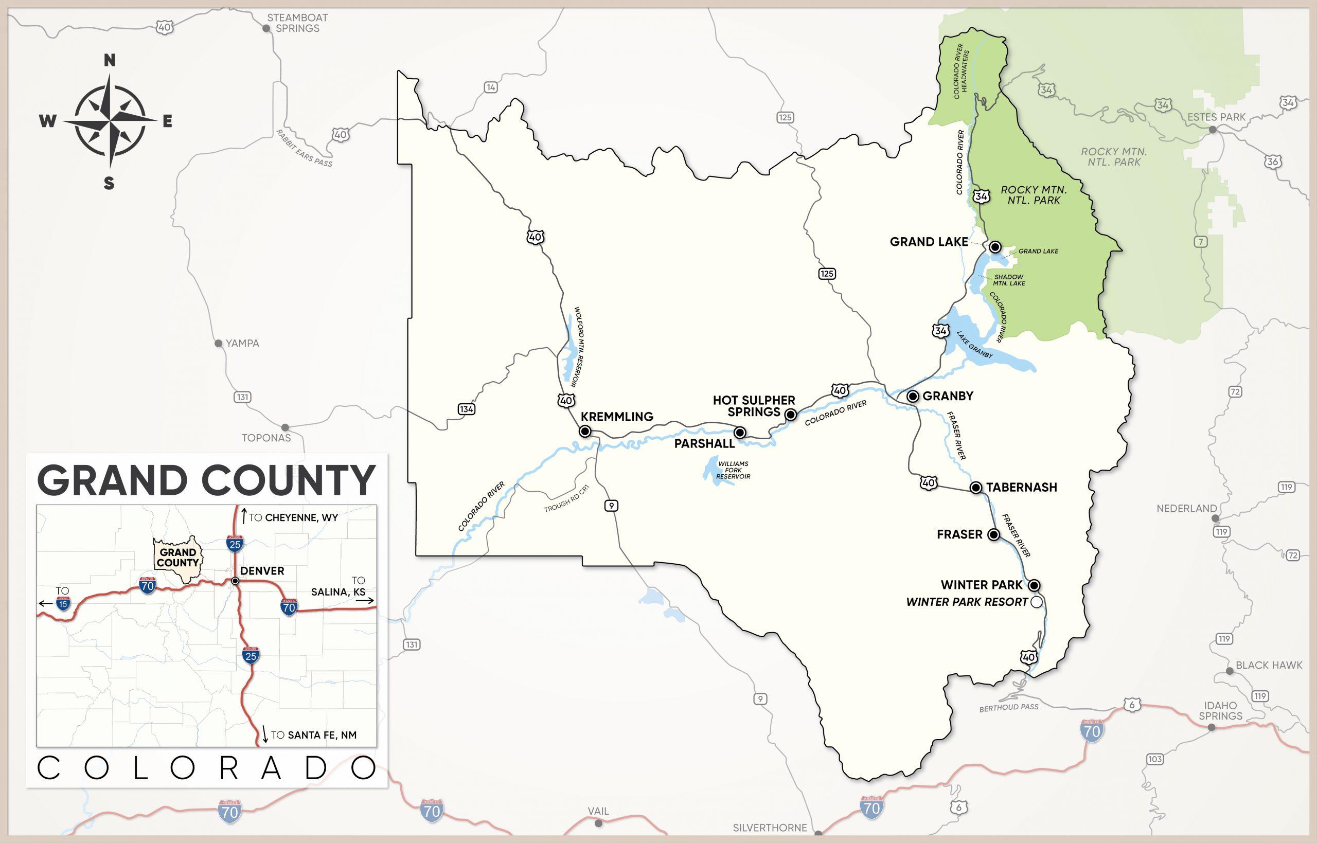 Grand County, Colorado Map